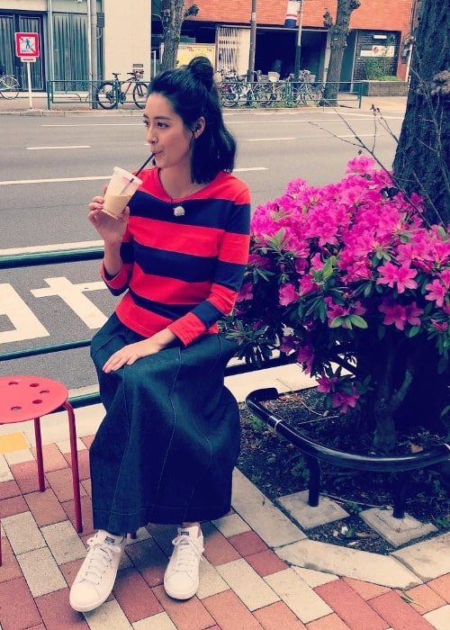 Izumi Mori as seen in a picture while enjoying her drink in May 2019