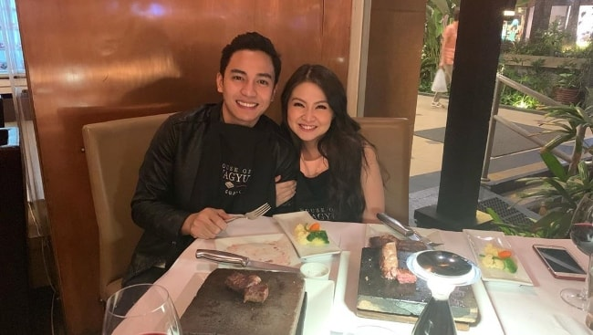 Jak Roberto as seen while posing for a picture alongside Barbie Forteza celebrating their 2 years anniversary in May 2019 at House Of Wagyu Stone Grill in Metro Manila, Philippines
