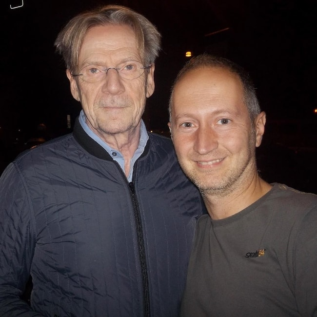 Jesper Christensen (Left) as seen while posing for the camera with Mauro in Rome, Italy