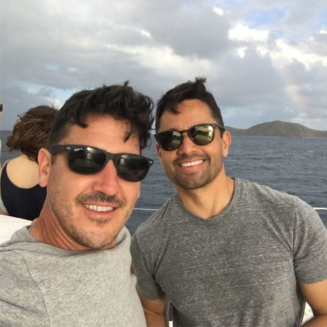 Jonathan taking a selfie with husband Harley Rodriguez in the British Virgin Islands in May 2018