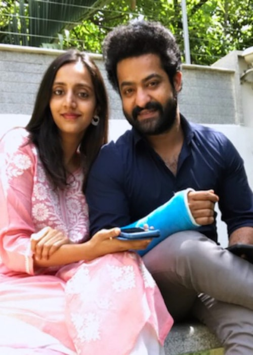 Jr. NTR as seen in a picture with his wife Nandamuri Lakshmi Pranathi in May 2019