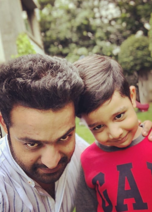 Jr. NTR as seen in a selfie taken with his son Abhay Ram Nandamuri in July 2018
