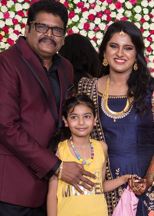K. S. Ravikumar as seen in a picture with his daughter Maalica Ravikumar on the day of her wedding