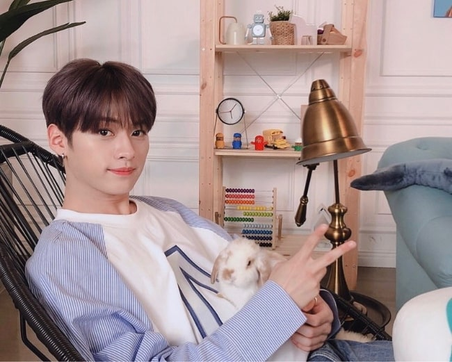 Lee Know as seen while posing for the camera while holding a bunny in June 2019