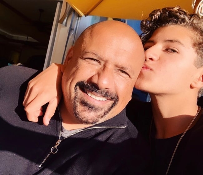 Mason Coutinho as seen while taking a selfie with his father in Los Angeles, California, United States