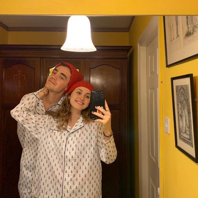 Maude posing with her boyfriend Charlie Christie in December 2018