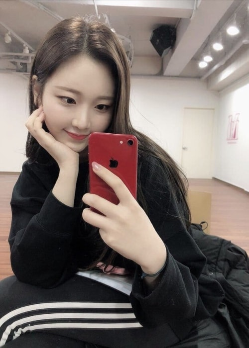 Nayun as seen in a mirror selfie in April 2019