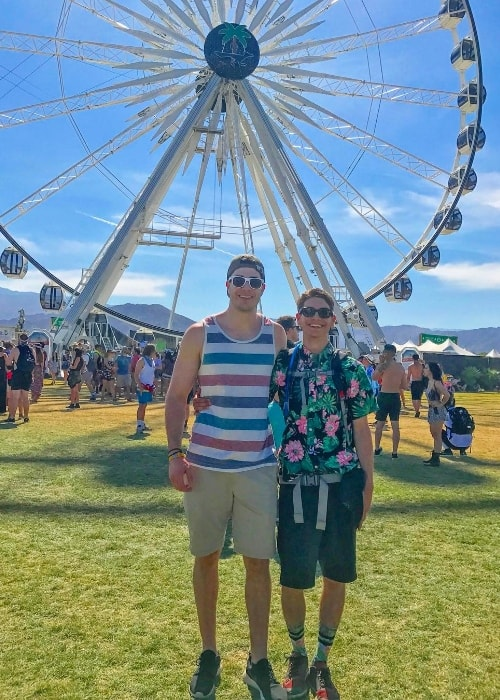 Noah Grossman (Right) as seen while posing for a picture alongside his older brother, Justin Grossman, in April 2017 while attending his first Coachella Valley Music and Arts Festival