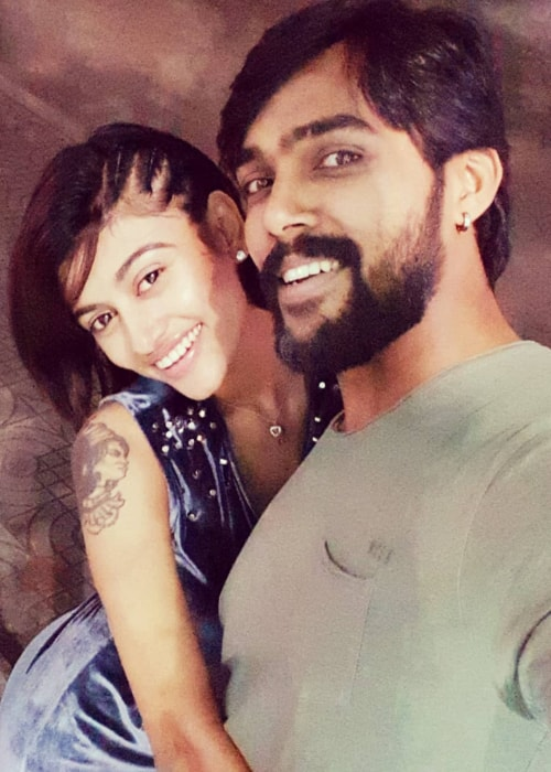 Oviya as seen in a picture with model and actor Arav Nafeez taken in December 2018
