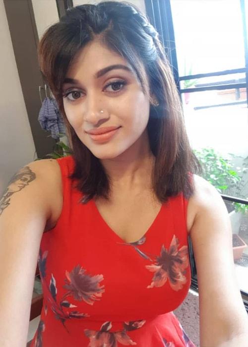 Oviya as seen in a selfie taken in July 2019