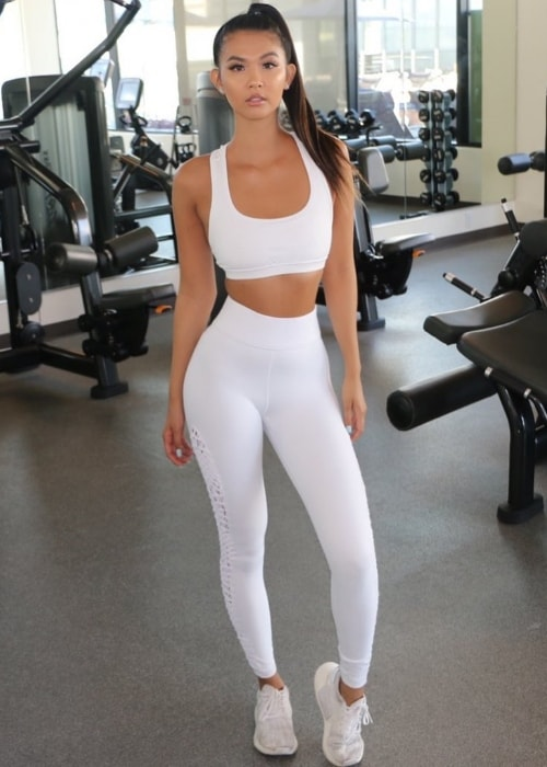 Phi Tran as seen while posing for a picture at the gym and showing her toned physique in Los Angeles, California, United States in May 2019