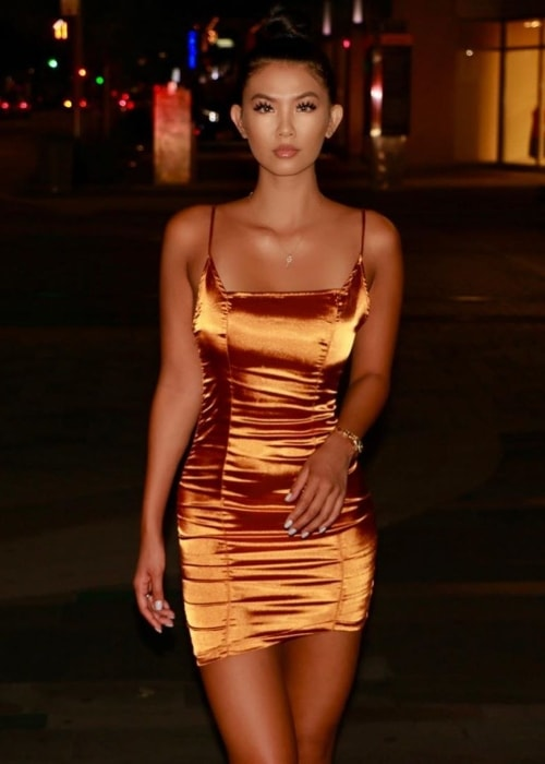 Phi Tran as seen while posing for the camera while rocking a stunning dress in July 2019 in Houston, Texas, United States