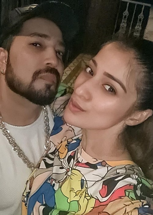 Raai Laxmi as seen in a selfie taken in with indian playback singer and live performer Mika Singh in June 2019