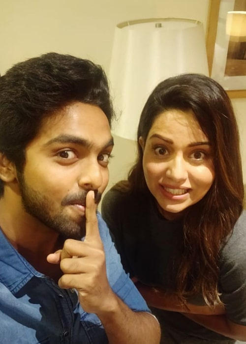 Raiza Wilson as seen in a selfie taken with actor G.V. Prakash Kumar in January 2019