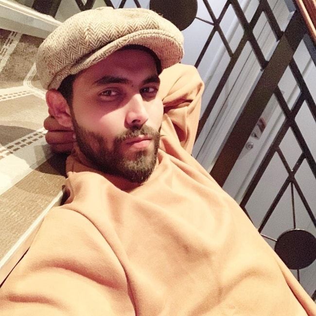 Ravindra Jadeja as seen in a selfie in July 2019