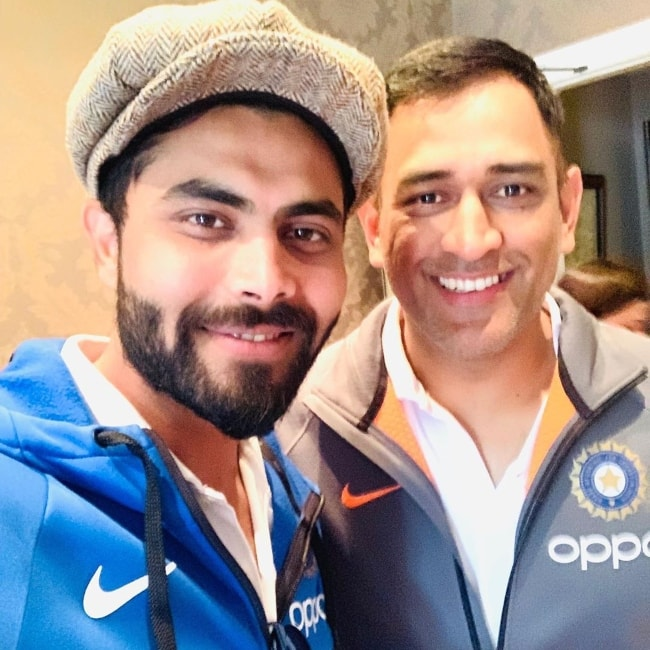 Ravindra Jadeja as seen in an Instagram selfie with M. S. Dhoni in July 2019