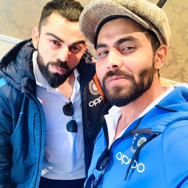 Ravindra Jadeja as seen in an Instagram selfie with Virat Kohli in July 2019