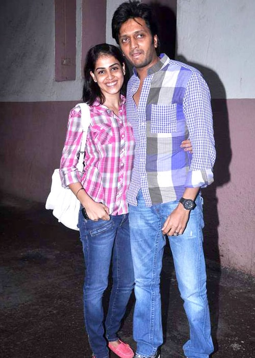 Riteish Deshmukh and Genelia D'Souza as seen in a picture taken when they went to watch Bol Bachchan in July 2012