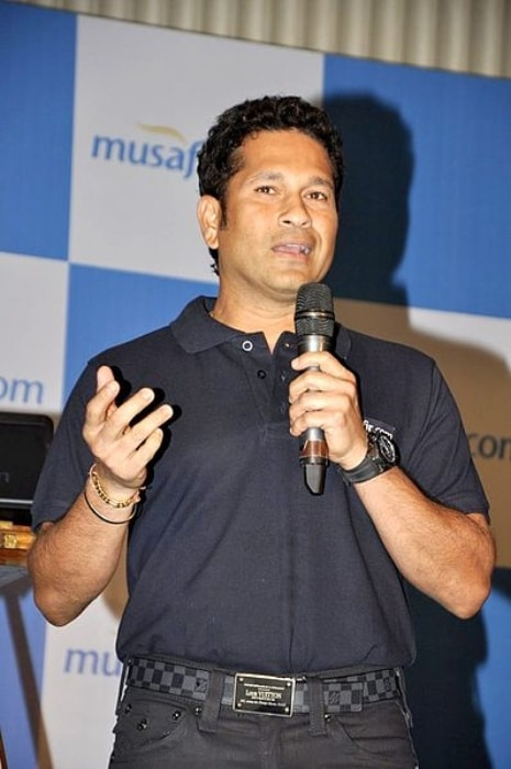 Sachin Tendulkar as seen at the launch of the website Musafir.com in October 2013