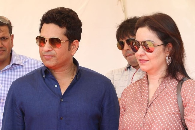 Sachin Tendulkar as seen with his wife Anjali Tendulkar at the Oval Maidan in Mumbai in April 2016