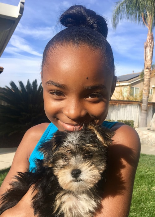 Saniyya Sidney as seen in a picture taken with her dog Buscuit in Los Angeles, California in Decenber 2017