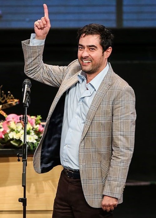 Shahab Hosseini as seen while speaking for an audience of Iran's artistic and political personalities during the closing ceremony of the popular series 'Shahrzad' at Tehran's Milad Tower in May 2016