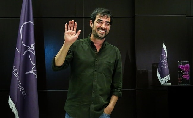 Shahab Hosseini as seen while waving at the camera during a press conference for the drama film 'The Salesman' in Tehran, Iran in May 2016