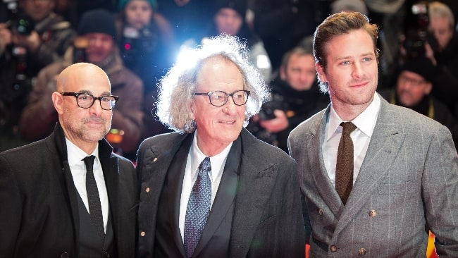 Stanley Tucci as seen at the 2017 Berlin International Film Festival along with Australian actor Geoffrey Rush (Center) and actor Armie Hammer (Right) as the film team of 'Final Portrait'