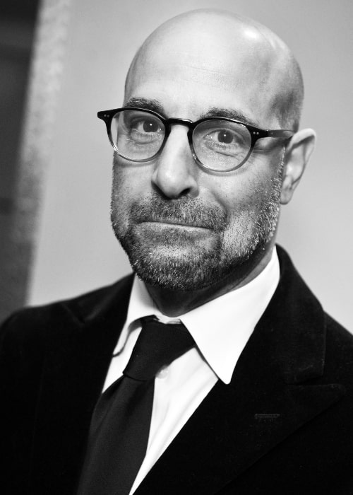 Stanley Tucci as seen in a black-and-white picture while attending the James Beard Awards in May 2009