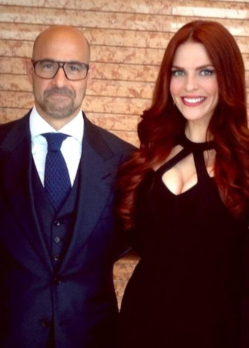 Stanley Tucci as seen while posing for a picture alongside actress Melanie Specht in August 2014