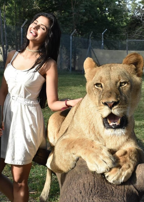 Subha Rajput as seen in a picture with a lion taken at Casela World of Adventures, Mauritius in June 2018