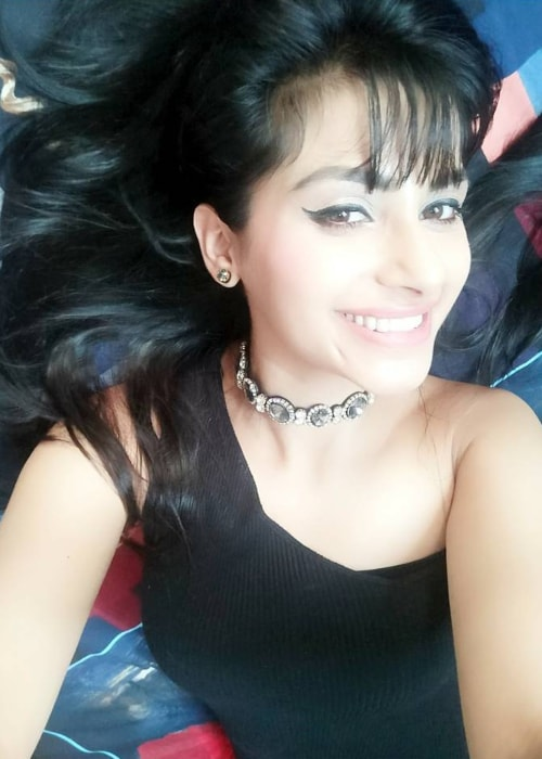 Subha Rajput as seen in a selfie taken while either endorsing or promoting a necklace from fashioNation in September 2017