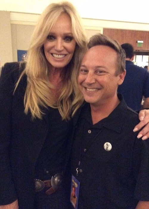 Susan Anton as seen while posing for the camera along with actor Keith Coogan at The Hollywood Show in Los Angeles, California, United States in 2019