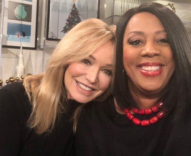 Susan Anton as seen while smiling in a selfie along with Amy Johnson at the CBS Studio Center in December 2017