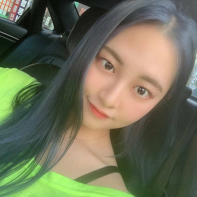 Taeha as seen taking a selfie in August 2019