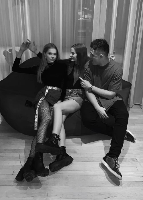 Tatum Marchetti as seen in a black-and-white picture along with Garry Caprani (Right) and Emily Unkles (Left) at Hotel Sanderson in London, England, United Kingdom in April 2019