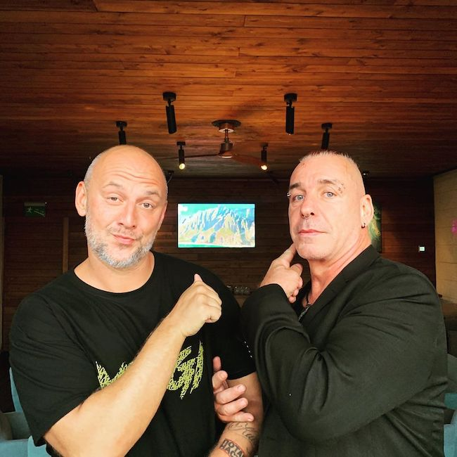 Till Lindemann with his friend Oleksii Potapenko in July 2019