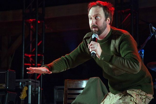 Tom Green during a performance in Afghanistan in March 2011