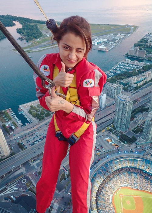 Trisha Krishnan as seen in a picture taken while doing the edge walk at the CN Tower in Toronto, Canada in July 2018