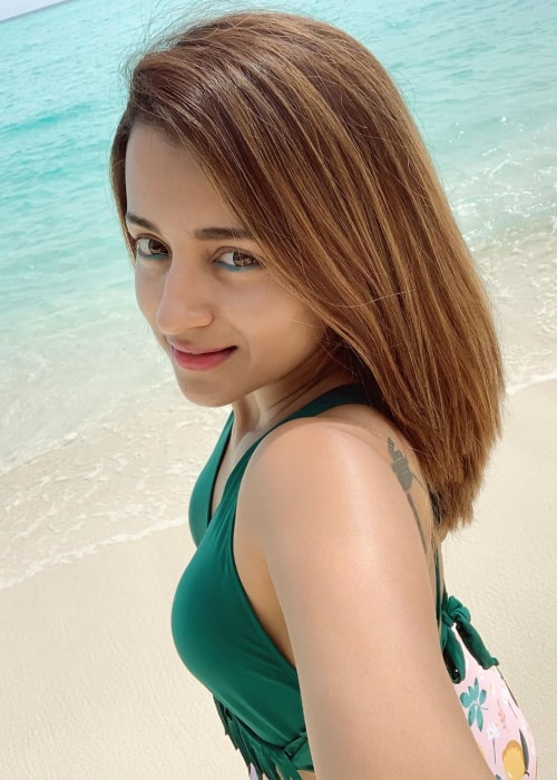 Trisha Krishnan as seen in a selfie taken in the Maldives in July 2019