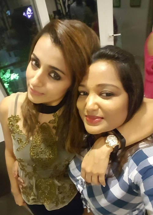 Trisha as seen in a selfie with a close friend of hers named Ninny in November 2017