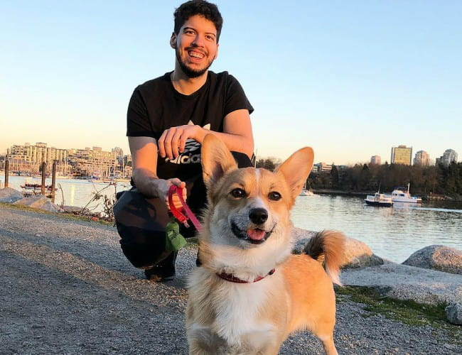 Typical Gamer with his dog as seen in March 2019