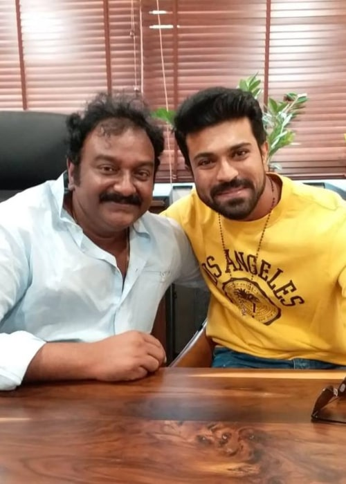 V. V. Vinayak as seen a picture taken with actor Ram Charan in March 2019