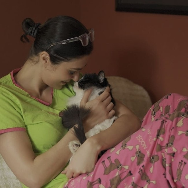 Adrianne Curry with her cat as seen in April 2019