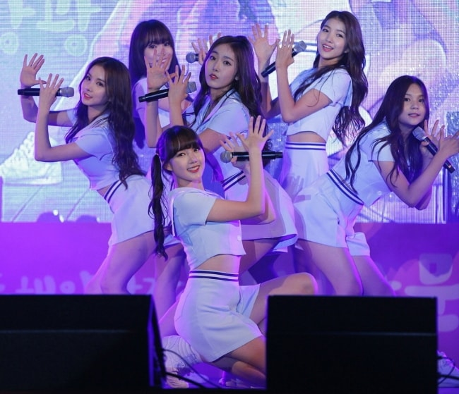All the members of 'GFriend' as seen while posing for a picture during an event in October 2015