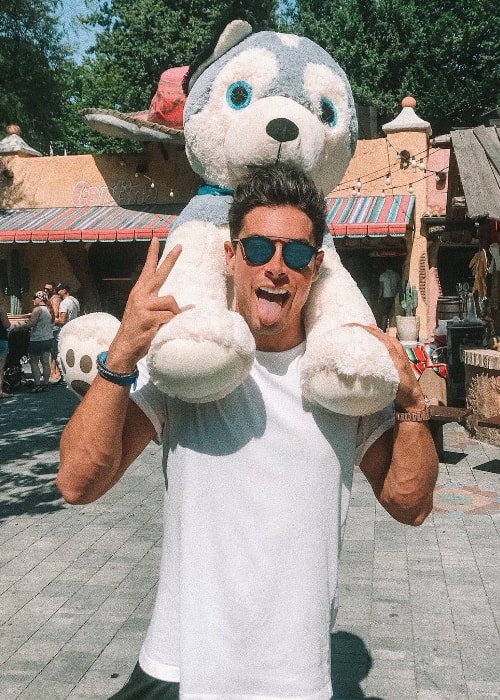 Andrea Denver as seen while posing for a goofy picture at Gardaland located in Ronchi dei Legionari, Friuli-Venezia Giulia, Italy in August 2018