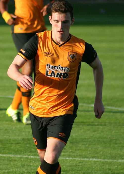 Andrew Robertson during a match as seen in June 2015