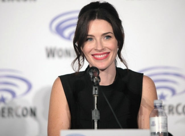 Bridget Regan speaking at the 2016 WonderCon