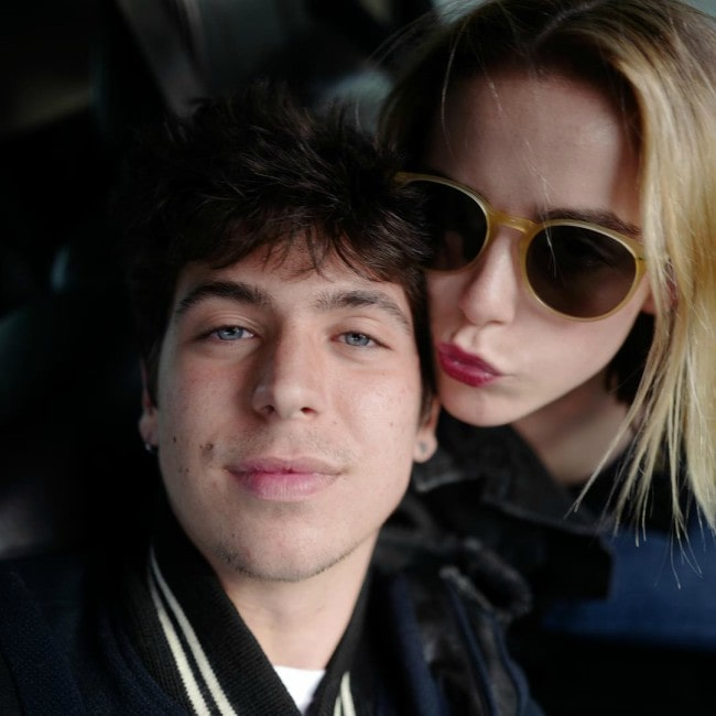 Charlie Oldman and Kiernan Shipka in a selfie as seen in April 2019