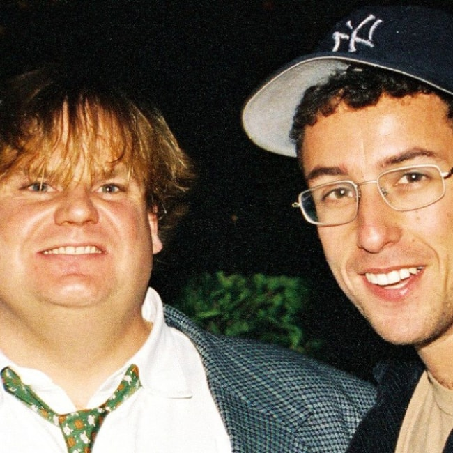 Chris Farley as seen in a picture with actor and good friend Adam Sandler
